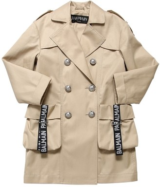Balmain Double Breasted Gabardine Trench