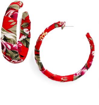 BP Floral Wrapped Hoop Earrings