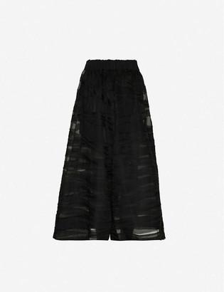 Toogood Striped high-rise wide silk-organza trousers