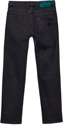 Self Cinema Slim Straight Jean Embroidered Washed Black