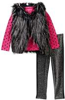 Betsey Johnson Heart Print Tee, Faux Fur Vest & Sparkle Legging Set (Little Girls)