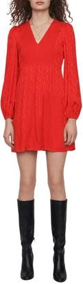 Maje Rimine Jacquard Long Sleeve A-Line Dress
