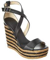 Jimmy Choo Portia 120 Vachetta Leather Braided Stripe Wedge Sandal.