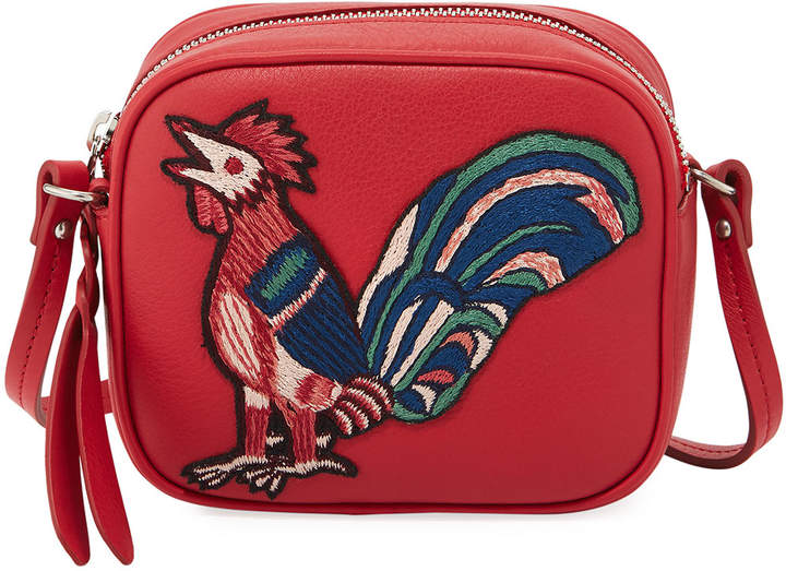 Alexander McQueen Mini Leather Rooster Camera Bag, Red Pattern
