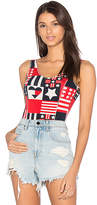 Hilfiger Collection Track & Field Printed Bodysuit in Red