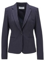 HUGO BOSS - Pinstripe Regular Fit Jacket In Traceable Wool With Stretch - Patterned