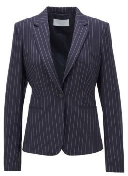 HUGO BOSS Pinstripe Regular Fit Jacket In Traceable Wool With Stretch - Patterned