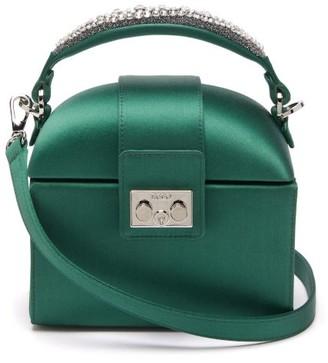 Rodo Trunk Crystal-embellished Satin Cross-body Bag - Green