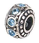 Zable Sterling Silver Crystal March Birthstone Bead Charm BZ-1052