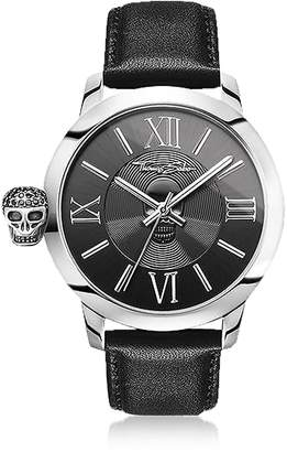 Thomas Sabo Rebel With Karma Silver Stainless Steel and Black Leather Strap Men's Watch
