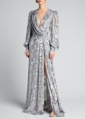 J. Mendel Floral Velvet Sheer-Sleeve Gown
