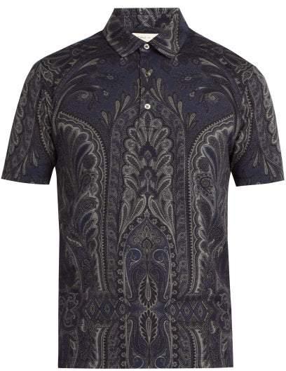 Etro Paisley Print Cotton Polo Shirt - Mens - Navy Multi