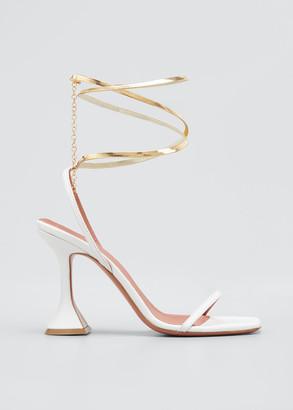 Amina Muaddi Henson Ankle-Wrap Pedestal Sandals