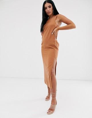 Asos Design DESIGN denim midi slip dress in rust-Orange
