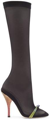 Marco De Vincenzo gem bow detail mesh heeled boots
