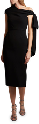 Roland Mouret Howe Asymmetric-Shoulder Midi Dress