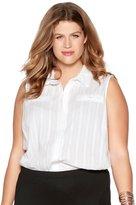 M&Co Plus sleeveless cotton shirt