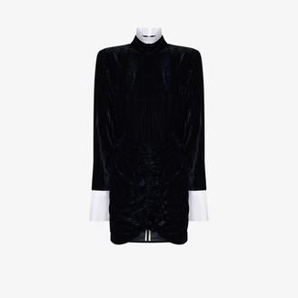 Rotate by Birger Christensen Miki ruffled collar velvet dress