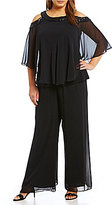 Alex Evenings Plus Cold-Shoulder 2-Piece Pant Set