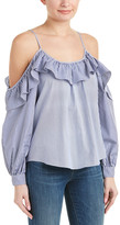 Parker Chambray Ruffle Top