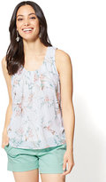 New York & Co. Pleated Chiffon-Overlay Shell - Bird Print