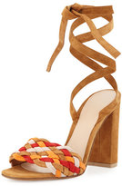 Gianvito Rossi Woven Suede Ankle-Wrap Sandal, Almond Spritz