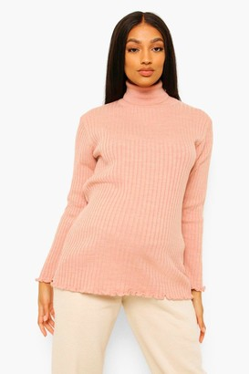 boohoo Maternity Lettuce Hem High Neck sweater