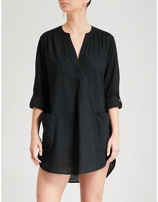 Seafolly Boyfriend-fit cotton beach shirt