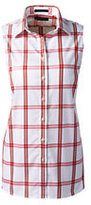 Classic Women's Petite Sleeveless No Iron Shirt-Black Check