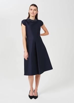 Hobbs Christie Silk Wool Beaded Dress