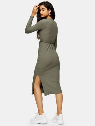Topshop Cut And Sew Belt Midi Dress - Khaki
