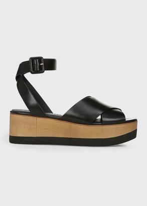 Veronica Beard Wynie Ankle-Strap Platform Sandals