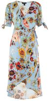 Topshop Star and floral print wrap midi dress