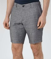 Reiss Reiss Walford - Houndstooth Shorts In Grey, Mens