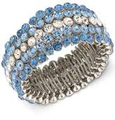 Carolee Silver-Tone Blue & Clear Crystal Stretch Bracelet