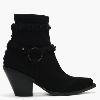 KENDALL + KYLIE Treck Black Suedette Studded Strap Western Boots