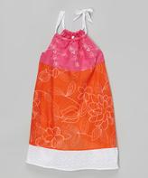 Mulberribush Orange & Pink Embroidered Dress - Girls
