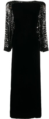 Valentino Pre Owned 1980's Sequinned Cape Long Dress