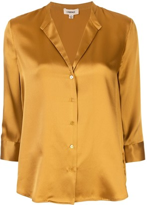 L'Agence Cropped Sleeve Silk Blouse