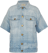 Current/Elliott Bandana-print short-sleeved denim jacket