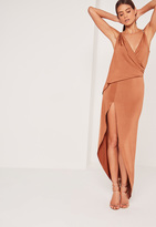 Missguided Slinky Chain Strap Maxi Dress Brown