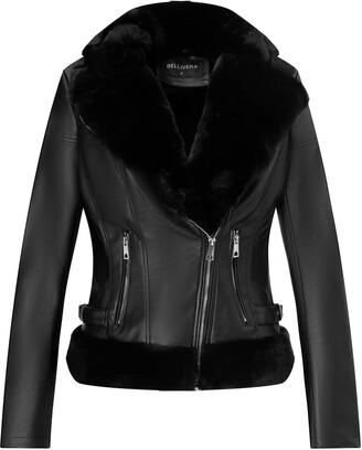 Bellivera Women's Faux Leather Short Jacket Moto Jacket with Detachable Faux Fur Collar Blackgray Medium
