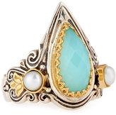 Konstantino Amphitrite Teardrop Agate & Pearl Statement Ring, Size 7