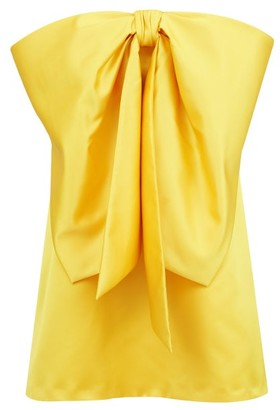 Sara Battaglia Bow-trim Strapless Satin Mini Dress - Yellow