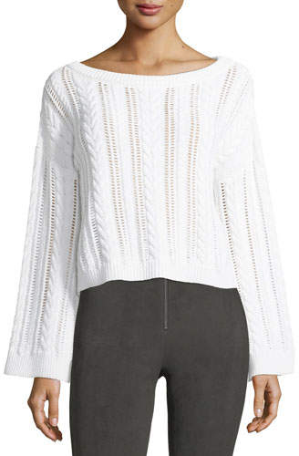 Alice + Olivia Bell-Sleeve Cable-Knit Wool-Blend Sweater
