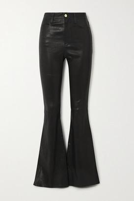 Frame Le High Flare Leather Flared Pants - Black