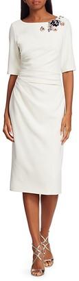 Theia Crepe Embellished Midi-Dress