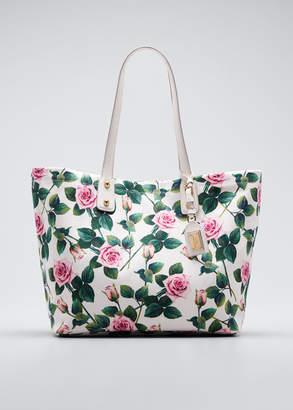 Dolce & Gabbana Tropical Rose Canvas Tote Bag