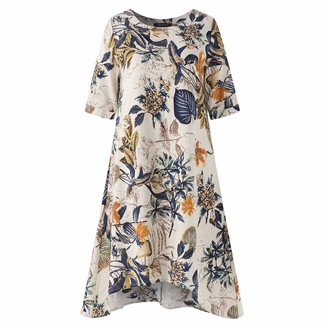 HULKY Women's Plus Size Linen Dress Summer Sale Ladies Casual O-Neck Ethnic Style Floral Printed Short Sleeve Irregular Vintage Dress Blouse TopsYellowXXL