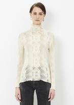 Issey Miyake white almond mesh ap long sleeve top